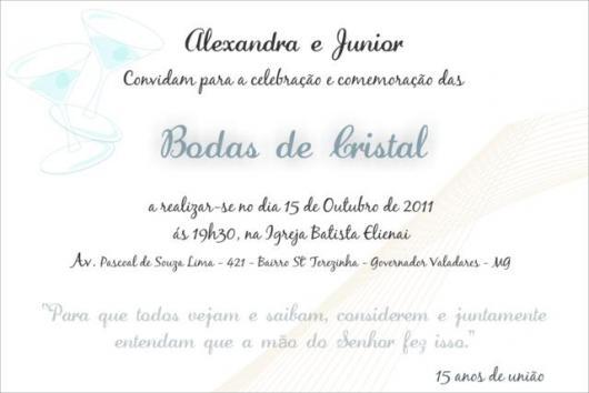 convite simples para bodas de cristais
