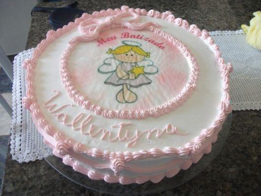 Bolo de batizado feminino com papel de arroz rosa e branco