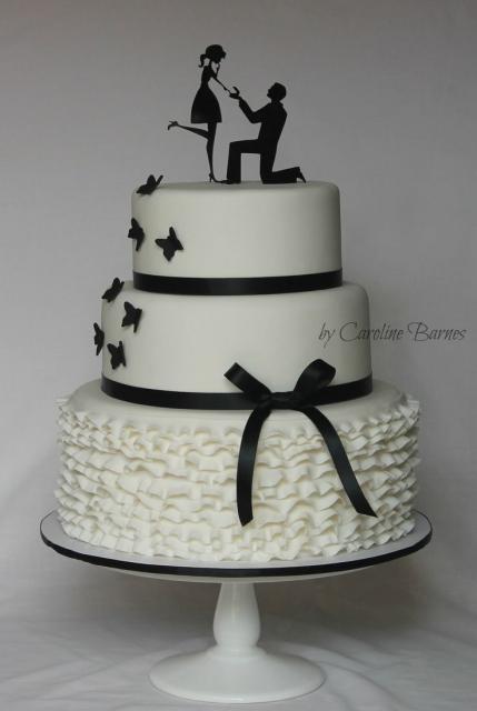 bolo branco e preto