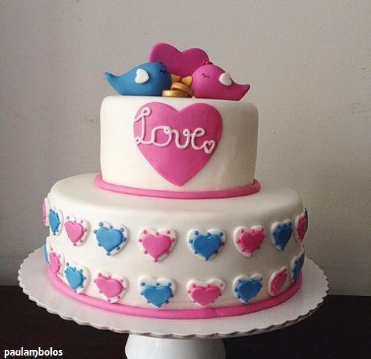 bolo casal de passarinhos