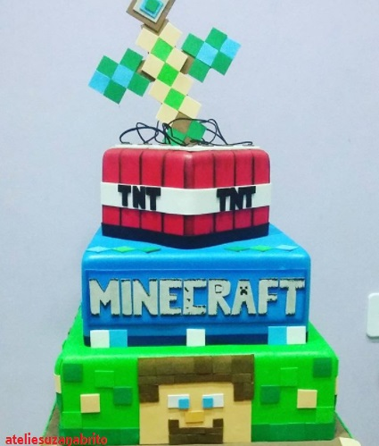 bolo cenográfico Minecraft
