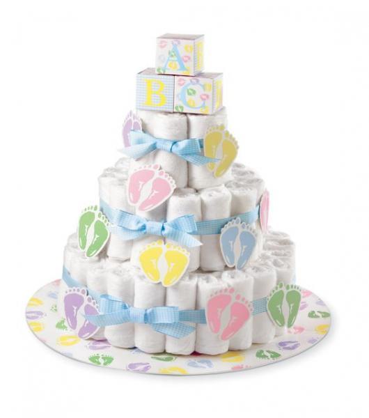 bolo fake unissex com laço azul e desenhos de pés coloridos
