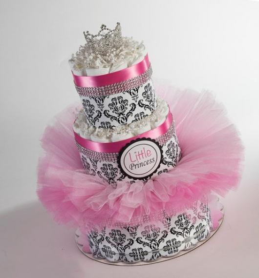 bolo fake feminino com tule rosa, coroa de princesa e strass
