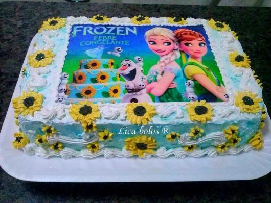 bolo com papel de arroz Frozen Fever