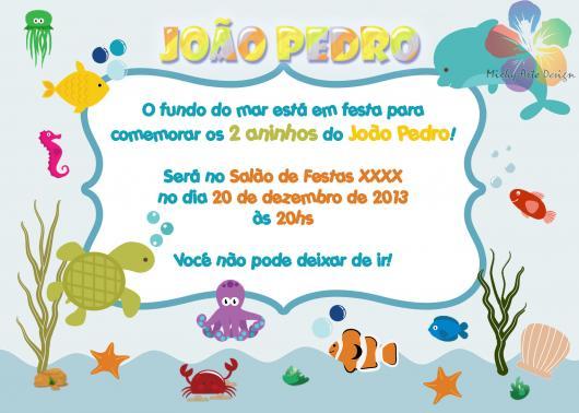 Convites fundo do mar baby cartão impresso