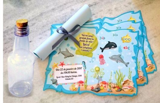 Convites Fundo do mar garrafinha