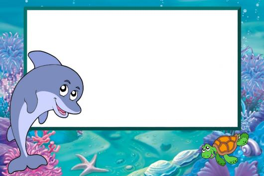 Convites fundo do mar em branco para colocar informações