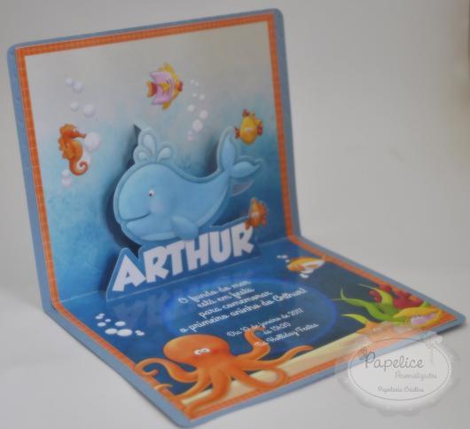 Convites fundo do mar scrapbook azul e laranja