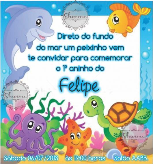 Convites fundo do mar baby colorido