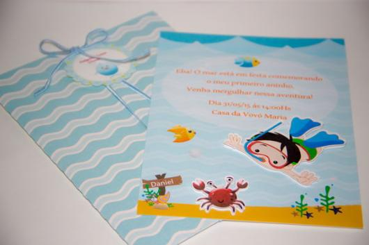 Convites Fundo do mar para festa infantil
