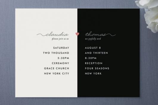 convites preto e branco de papel cartão para casamento