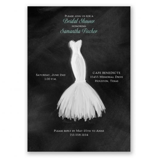 convites preto e branco com desenho de vestido de noiva