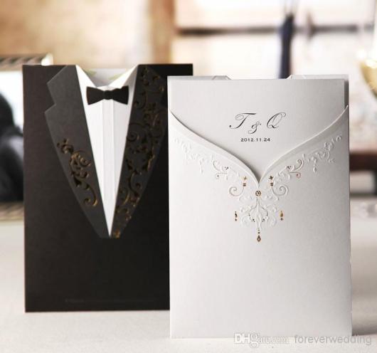convites preto e branco casamento clássico