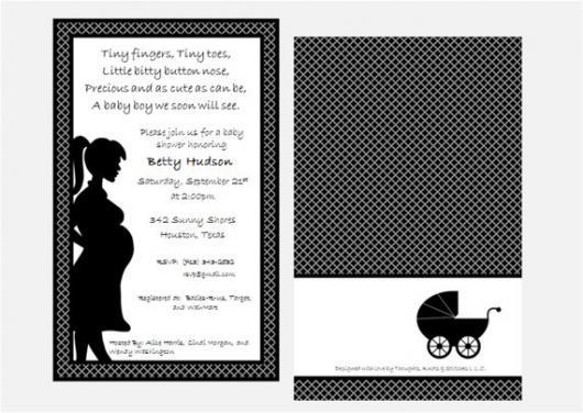 convites preto e branco modelo de chá de bebê