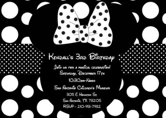 convites preto e branco da minnie