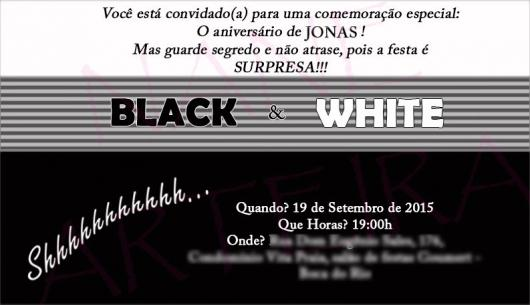 convites preto e branco para aniversário masculino