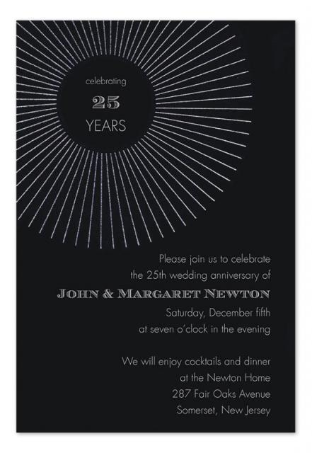 convites preto e branco simples de 25 anos