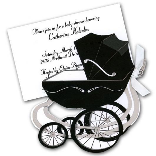 convites preto e branco para chá de bebê