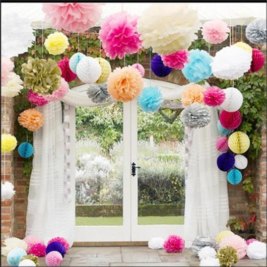 Decoração com papel crepom flores coloridas para casamento