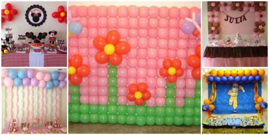 montagem de diferentes decorações com balões
