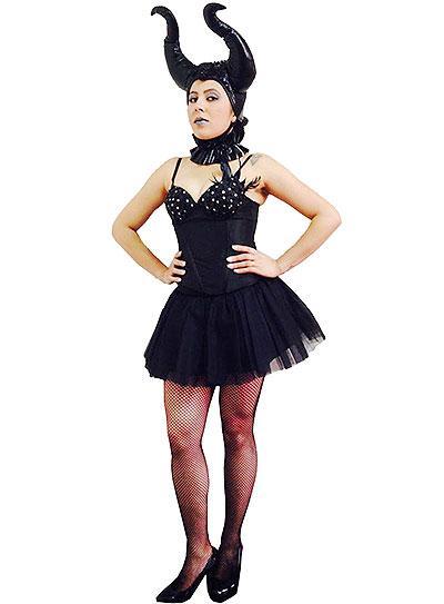 Fantasia Malévola com vestido curto preto