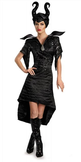Fantasia Malévola adulta vestido com detalhe de brilho