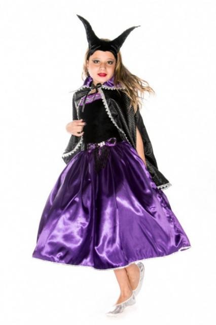 Fantasia Malévola infantil vestido roxo cetim