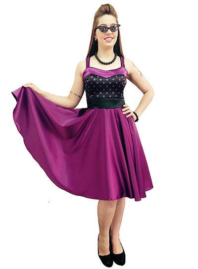 vestido violeta rodado inspirado nos anos 60
