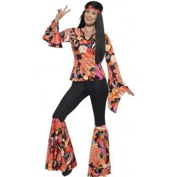 Modelo de fantasia hippie anos 60 preto e laranja