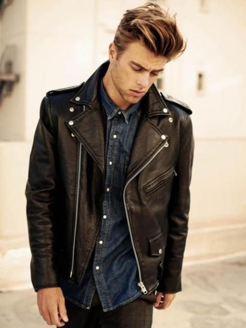 Fantasias anos 60 masculinas jaqueta de couro preta com zíper