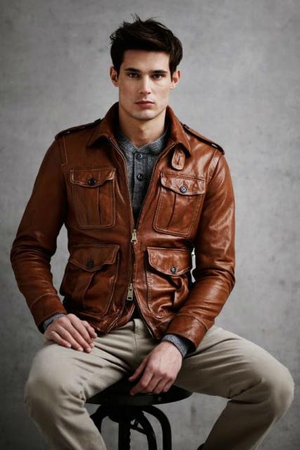 Fantasias anos 60 masculinas jaqueta marrom