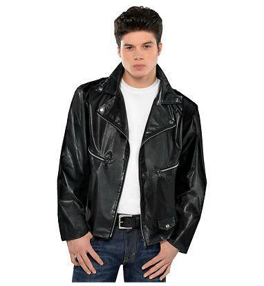 Fantasias anos 60 masculinas jaqueta preta com gola grande
