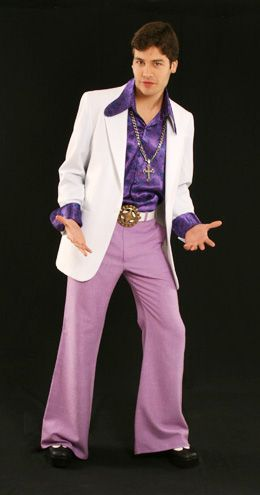 Fantasias anos 60 masculinas calça boca de sino roxa