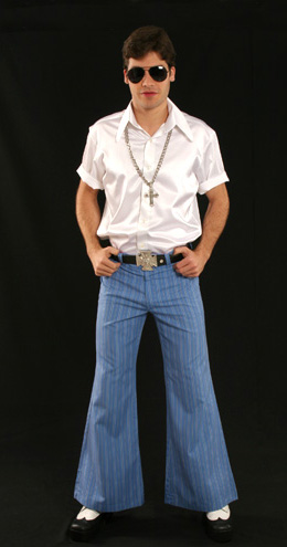 Fantasias anos 60 masculinas calça boca de sino azul com listras