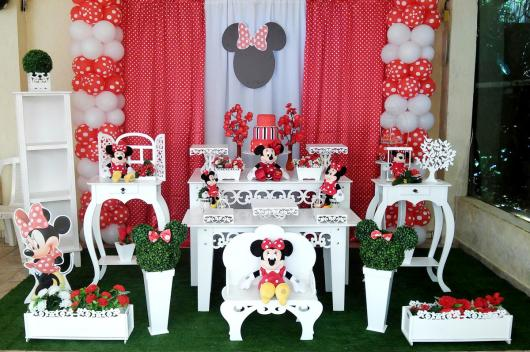 Festa da Minnie vermelha provençal com display da Minie