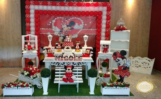 Festa da Minnie vermelha provençal com painel