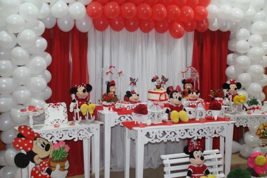 Festa da Minnie vermelha provençal vermelha e branca