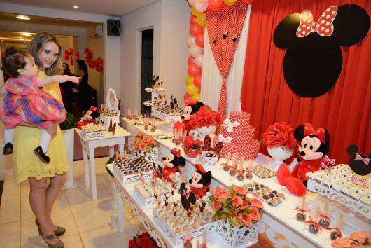 Festa da Minnie vermelha 1 ano com painel