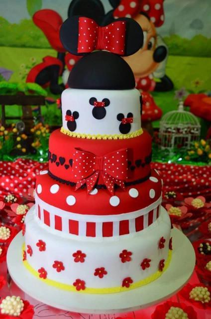 Festa da Minnie vermelha bolo decorativo