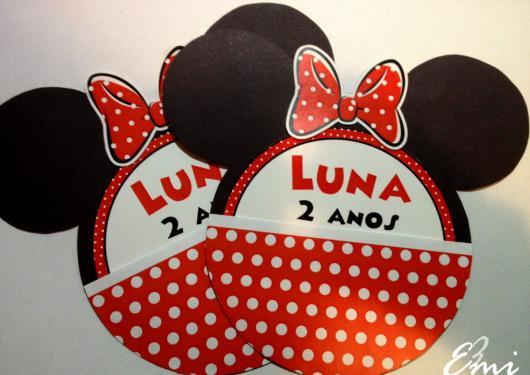 Festa da Minnie vermelha convite formato carinha da Minie