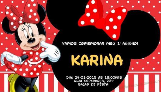 Festa da Minnie vermelha convite cartão