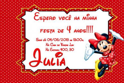 Festa da Minnie vermelha comvite impresso