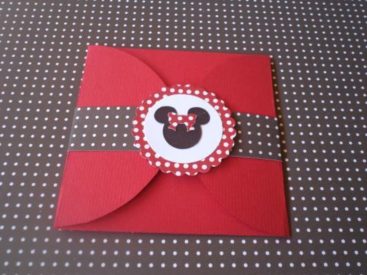 Festa da Minnie vermelha convite envelope vermelho