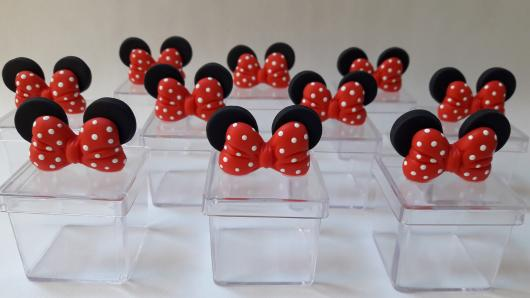 Festa da Minnie vermelha caixinha de acrilico