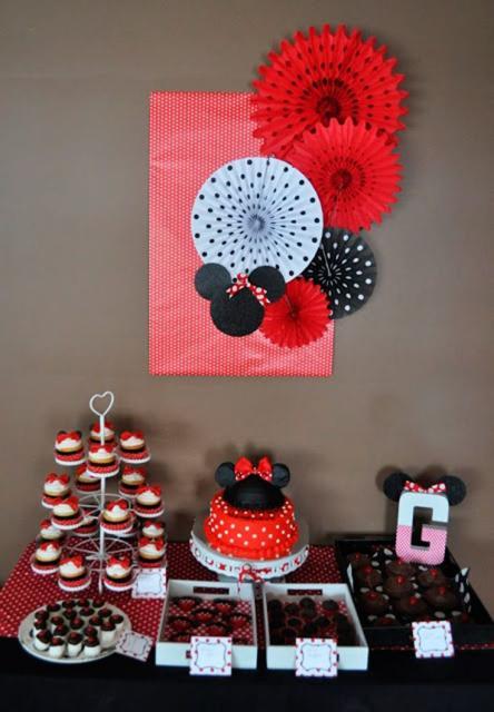 Festa da Minnie vermelha decoração de parede feita com papel