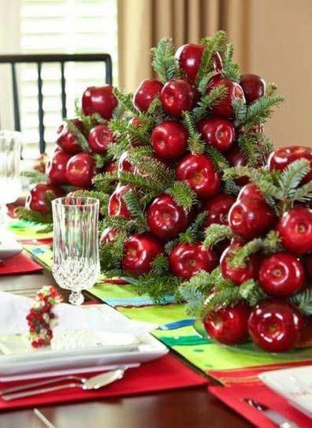 arranjo de mesa com maçã