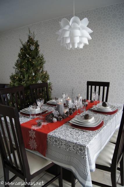 decoração mesa quadrada