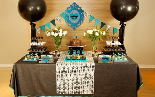 Temas para festa de 18 anos masculina marrom e azul
