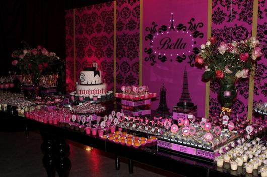 Temas para festa de 18 anos Paris rosa e roxa
