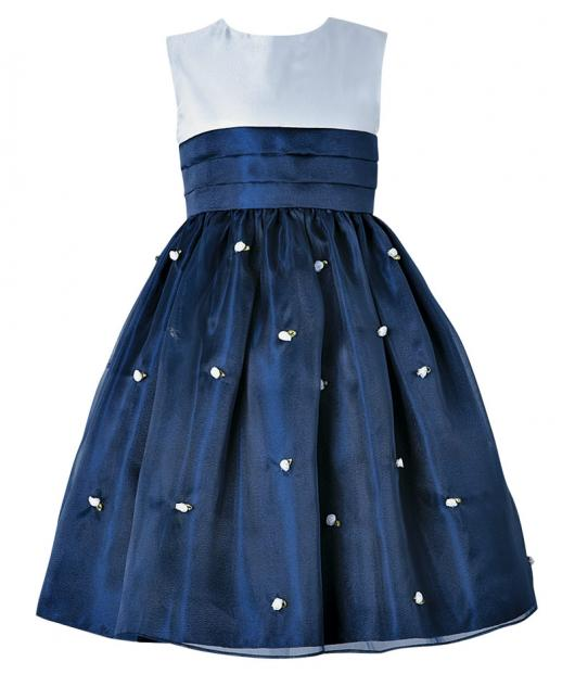 Vestido de formatura infantil azul com aplicação de flores